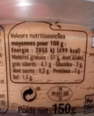 Odyssee Tarama Saumon - Nutrition facts