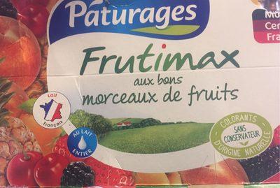 Frutimax Yaourt aux fruits (pêche, abricot, fraise, cerise, ananas, framboise)Colorants d'origine naturelle - Sans conservateur - Lait Français* hors protéines de lait - Produit