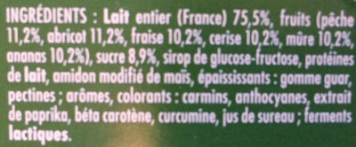 Frutimax Yaourt aux fruits (pêche, abricot, fraise, cerise, ananas, framboise)Colorants d'origine naturelle - Sans conservateur - Lait Français* hors protéines de lait - Ingredients - fr