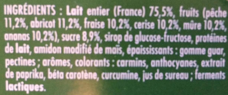Frutimax Yaourt aux fruits (pêche, abricot, fraise, cerise, ananas, framboise)Colorants d'origine naturelle - Sans conservateur - Lait Français* hors protéines de lait - Ingredients