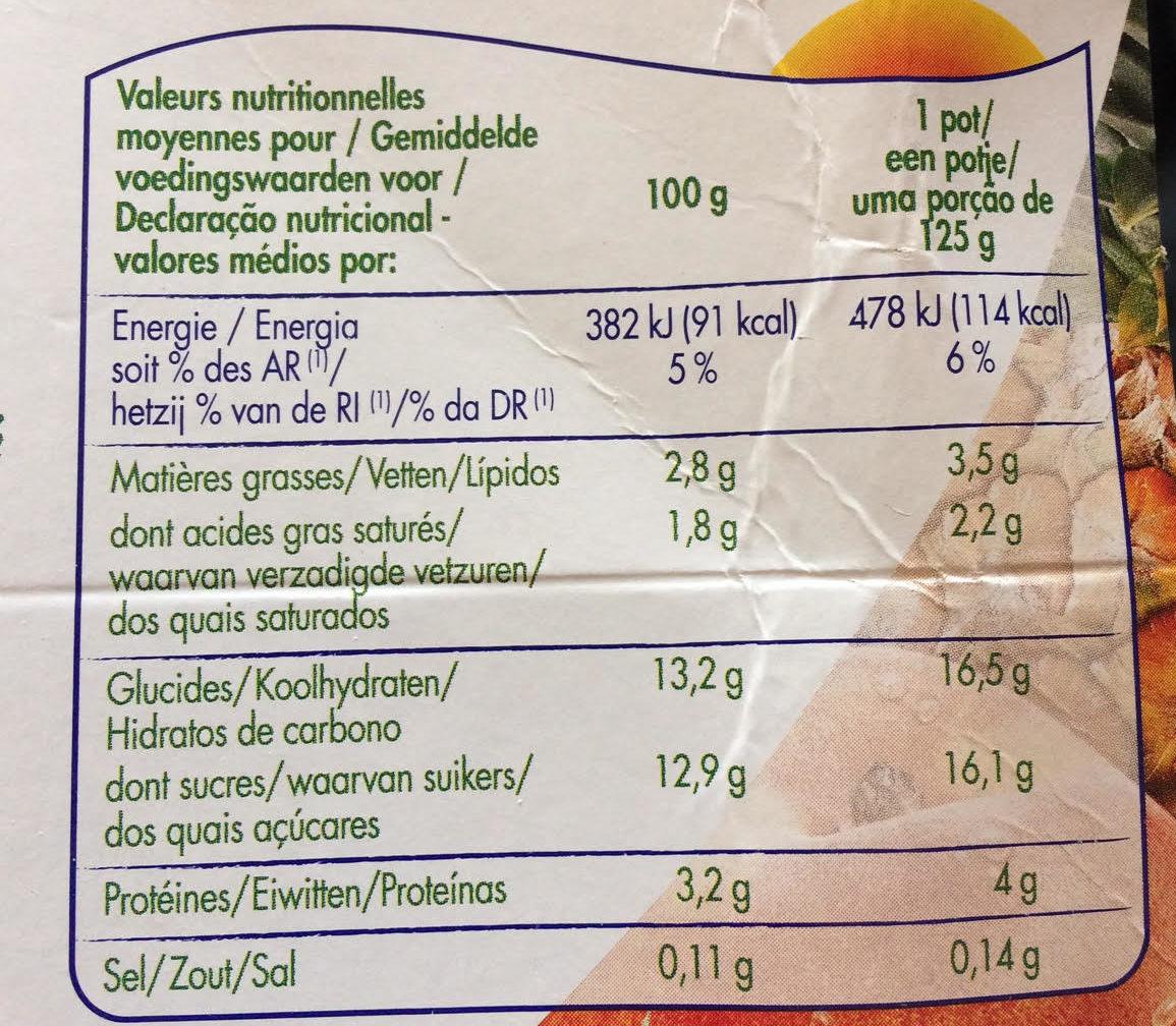 Frutimax Yaourt aux fruits (pêche, abricot, fraise, cerise, ananas, framboise)Colorants d'origine naturelle - Sans conservateur - Lait Français* hors protéines de lait - Nutrition facts - fr