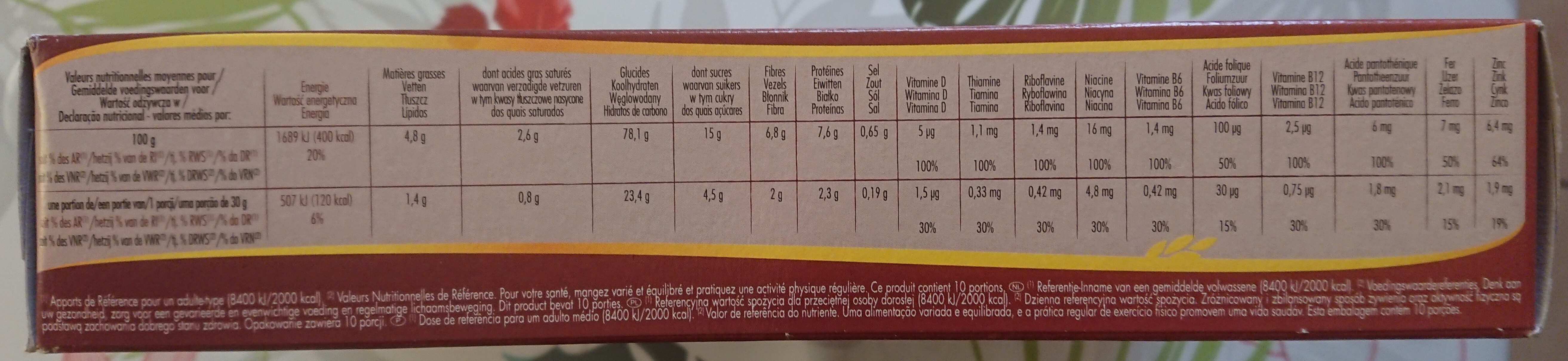 Forme & chocolat - Informations nutritionnelles - fr