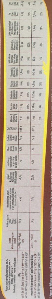 Céréales forme chocolat noir - Informations nutritionnelles - fr