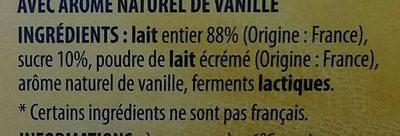 Yaourt au lait entier saveur vanille - Ingrédients - fr