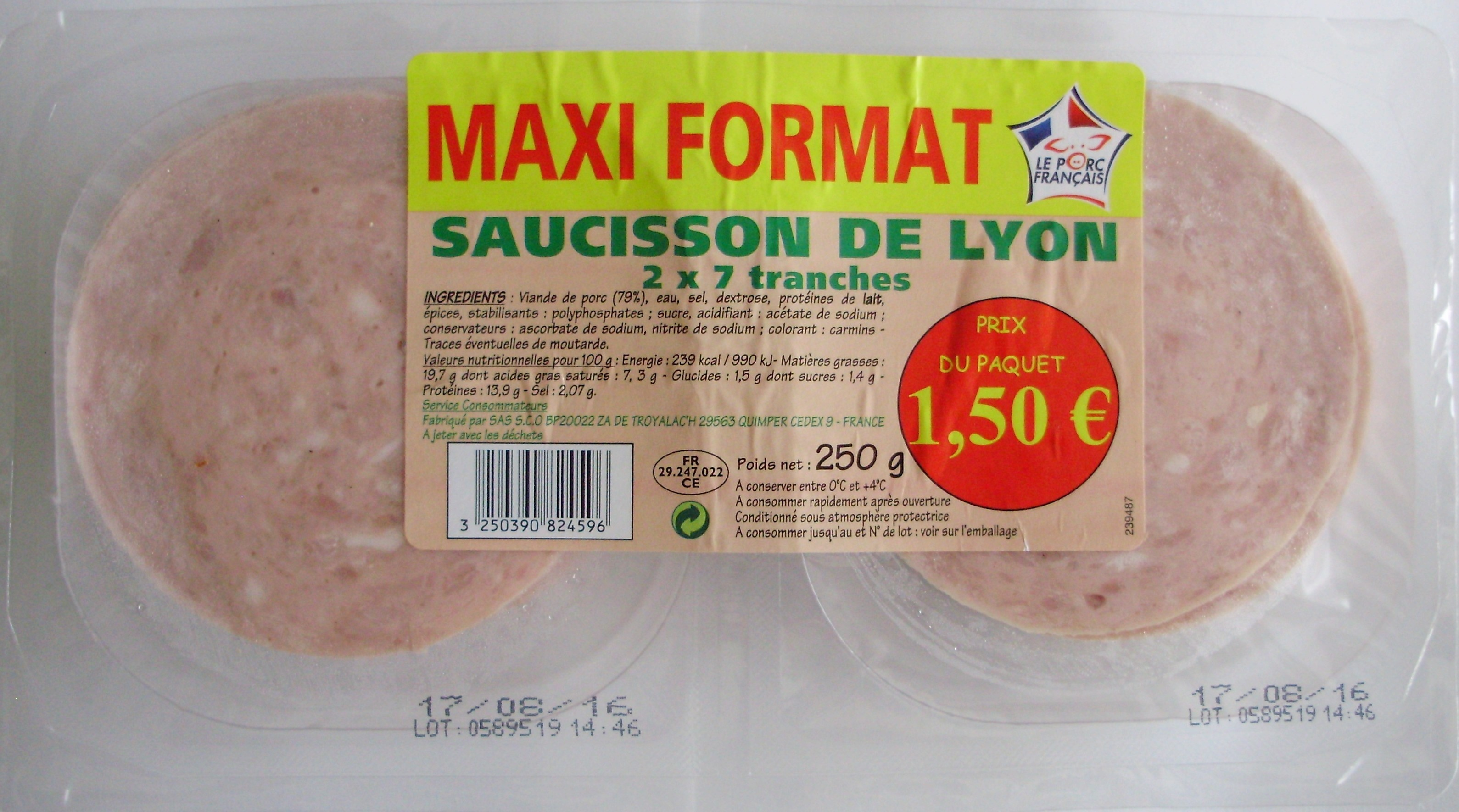 saucisson de lyon 2 x 7 tranches sans marque 250 g. Black Bedroom Furniture Sets. Home Design Ideas