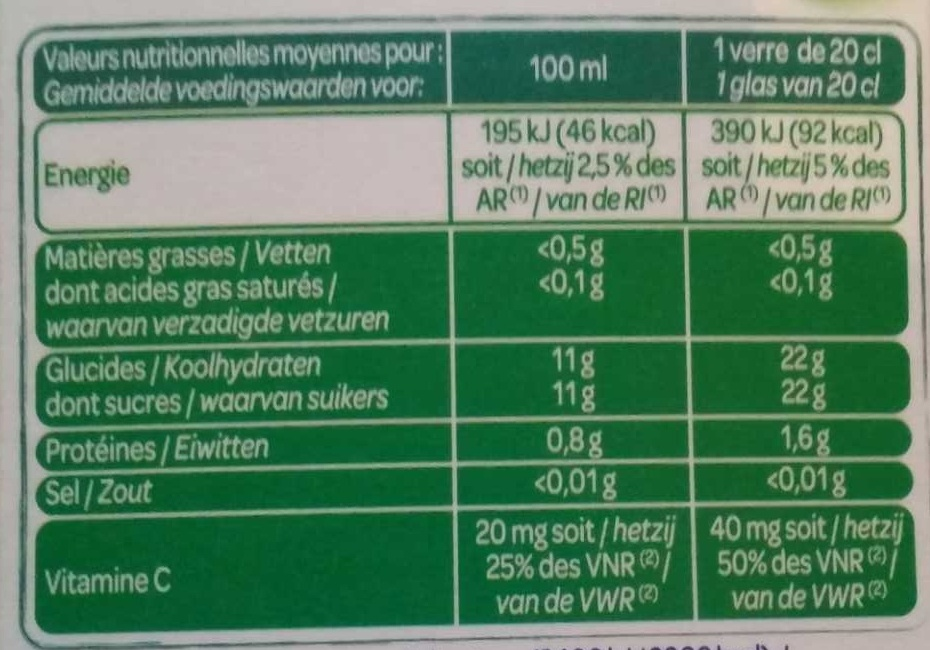 100 % Pur jus pressé orange avec pulpe - Nutrition facts - fr