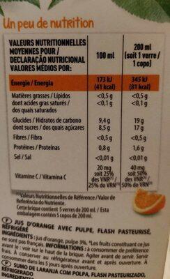 100 % Pur jus pressé orange avec pulpe - Voedingswaarden - fr
