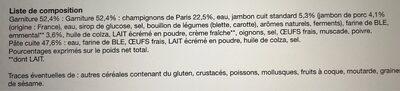 Crêpes Jambon Champignons Fromage x6, La Boîte, 300g - Ingrédients