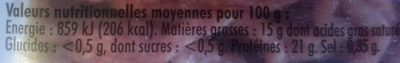 Viande hachée picada - Informations nutritionnelles