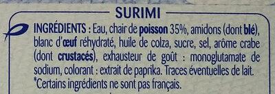 30 Bâtonnets de surimi - Ingrédients