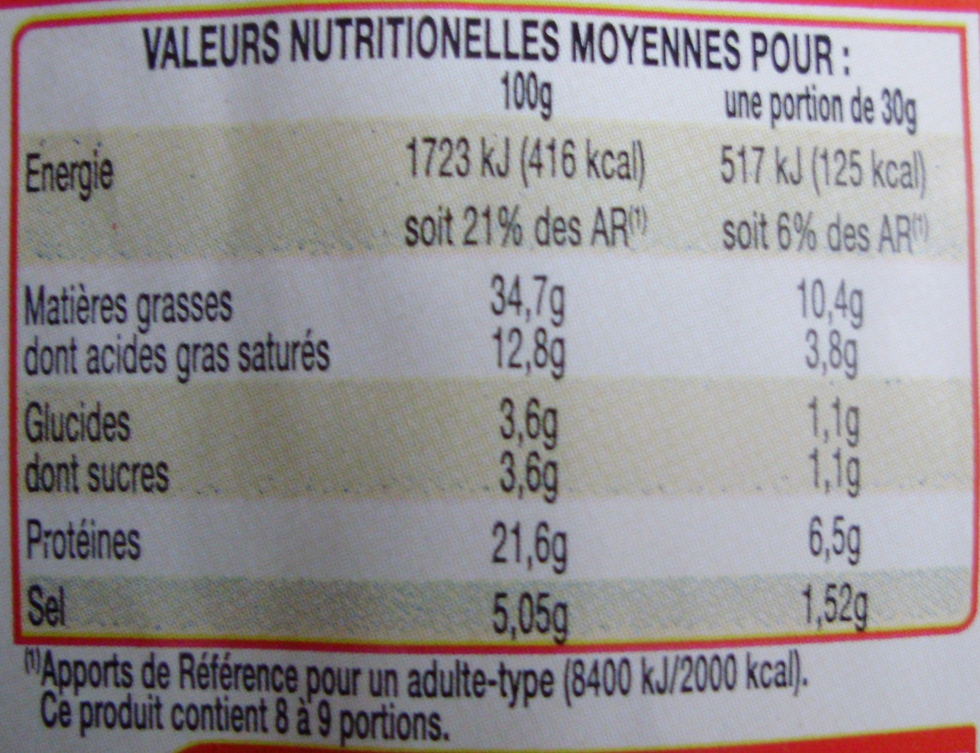 Chorizo Pur Porc (Fort) - Nutrition facts - fr