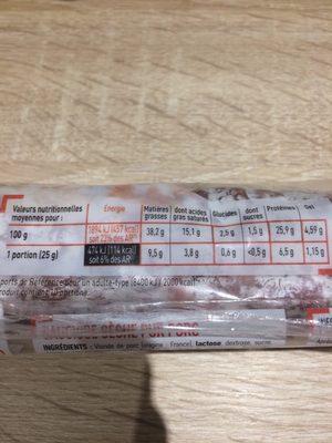 Saucisse seche - Voedingswaarden