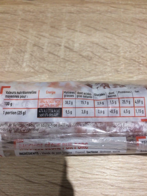 Saucisse seche - Voedingswaarden - fr
