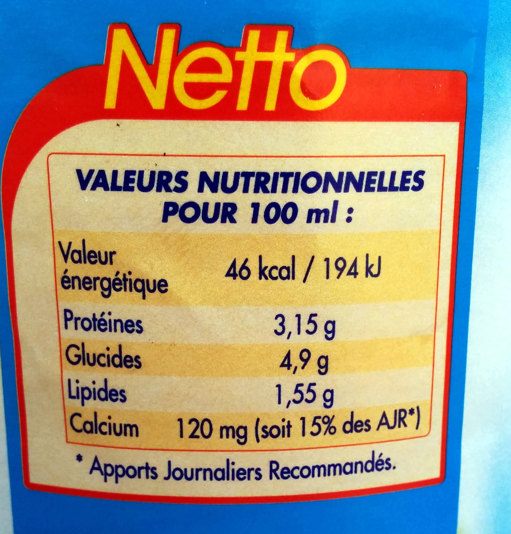 Lait Demi Ecrémé - Nutrition facts