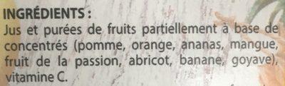 Jus Multifruits à base de concentrés - Ingredients