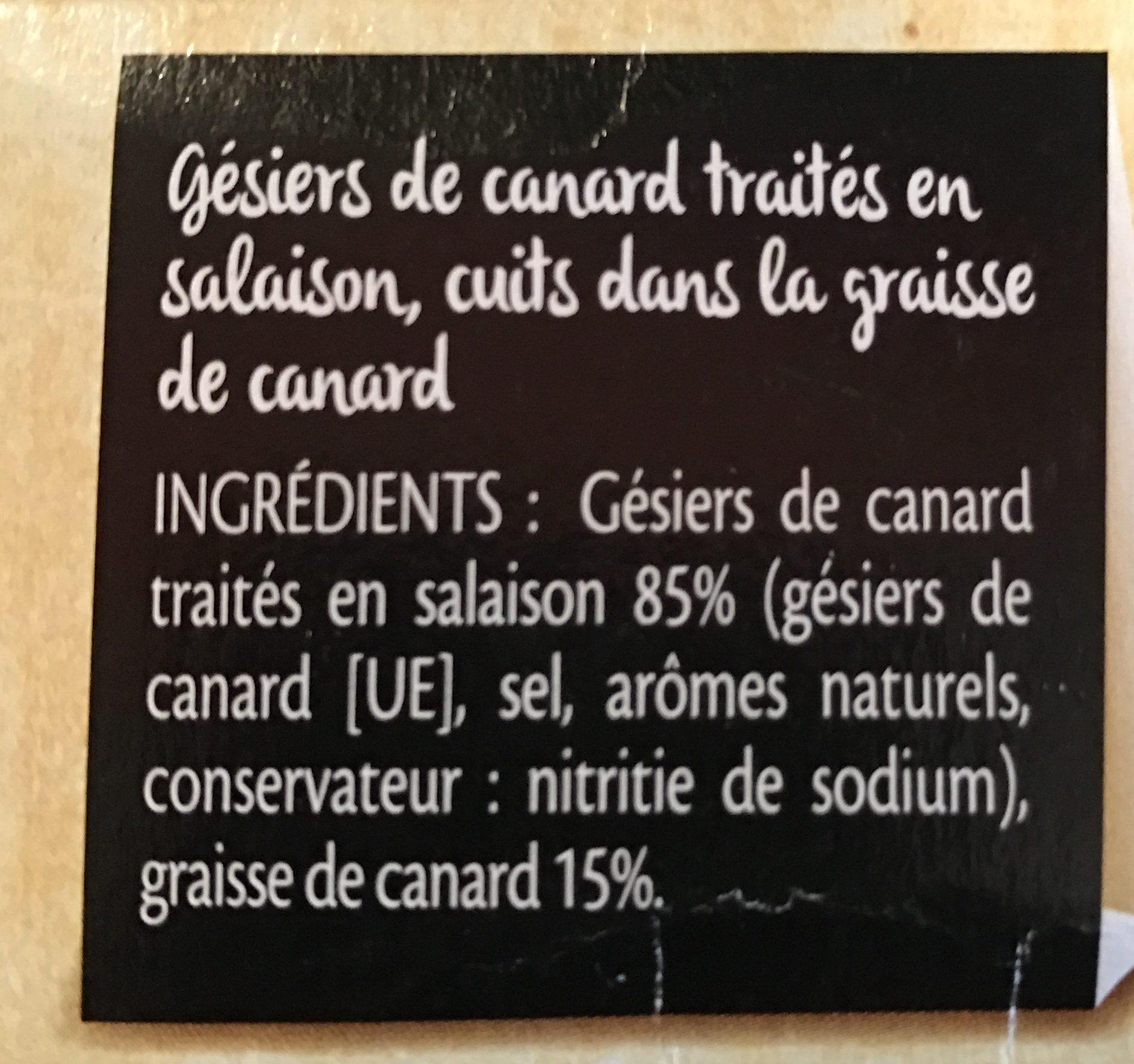 Gésiers de canard cuits dans la graisse de canard - Ingrédients - fr
