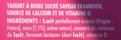 Yaourt à boire saveur framboise - Ingrédients - fr