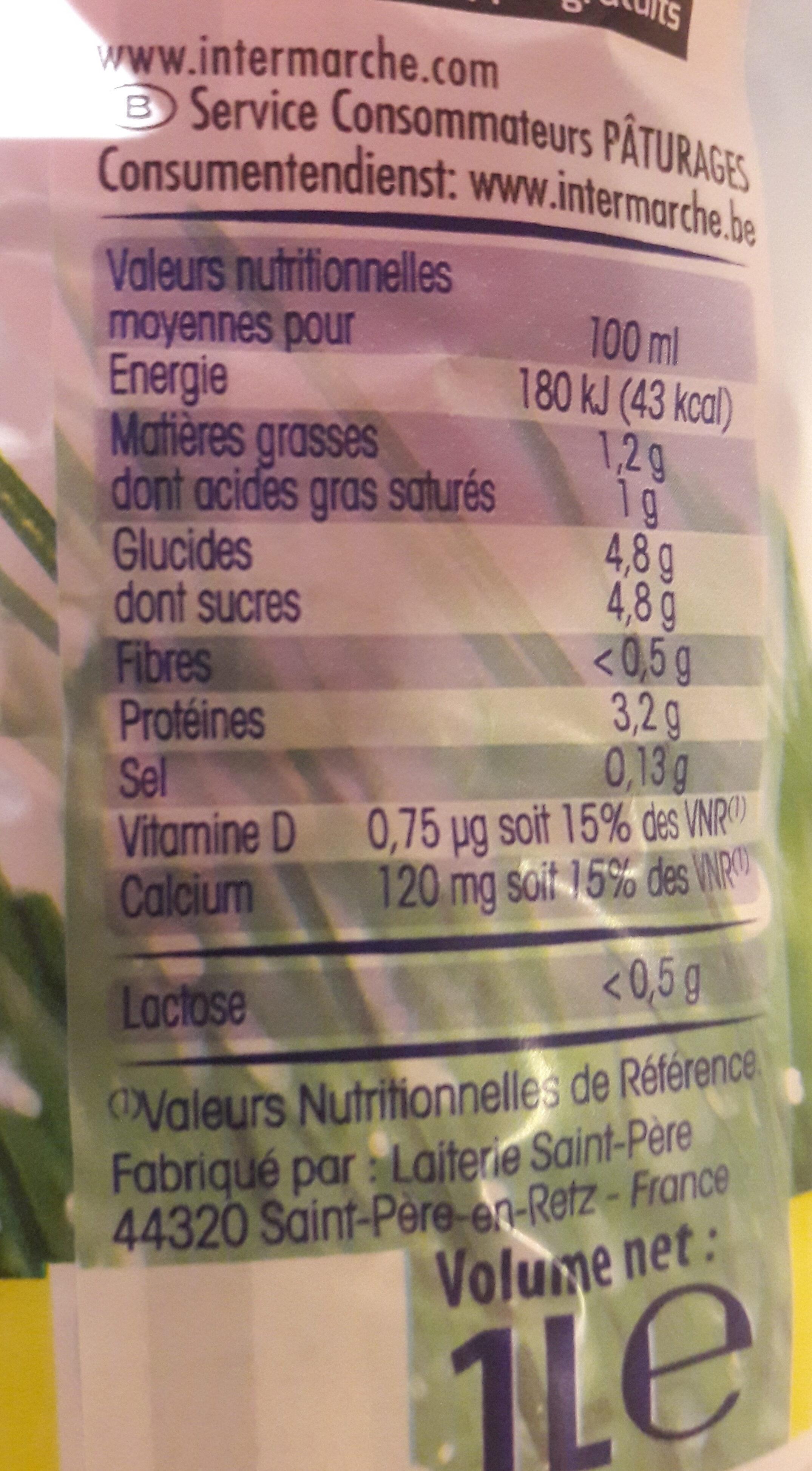 Lait facile à digérer - Nutrition facts