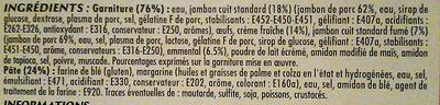 Quiche Lorraine - surgelé - Ingrédients - fr