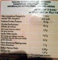 Quiche Lorraine - surgelé - Informations nutritionnelles - fr