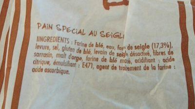 Cuit sur place Pain spécial seigle le pain de 300 g - Ingredients - fr