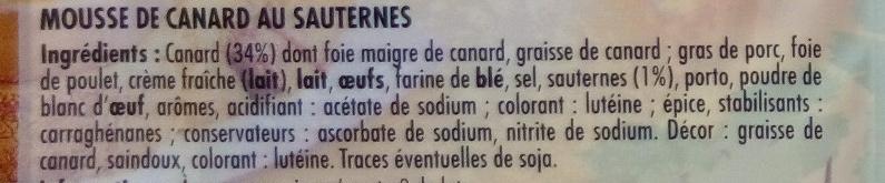 Mousse de Canard au Sauternes - Ingredients