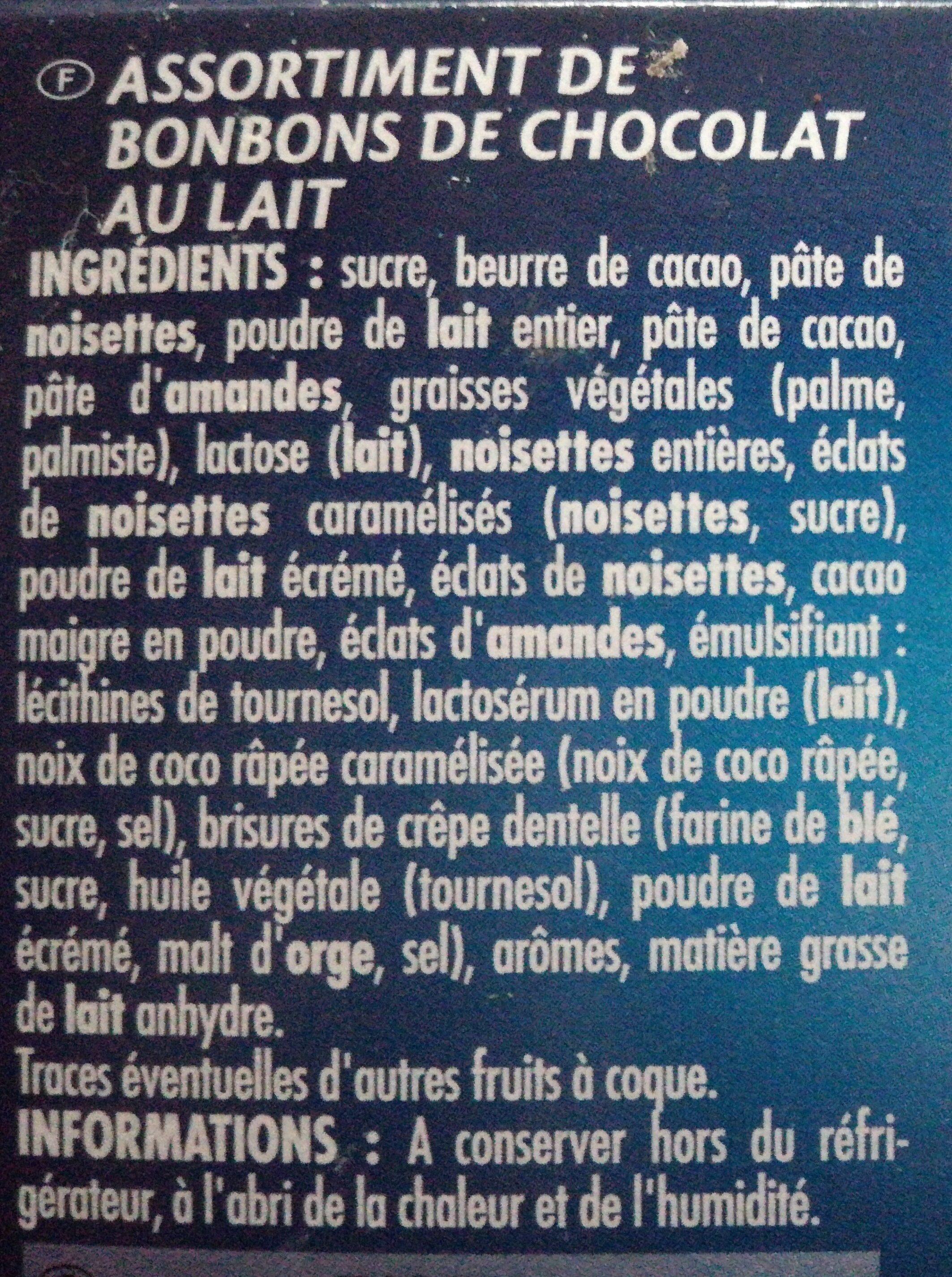 Assortiments Lait - Ingredients