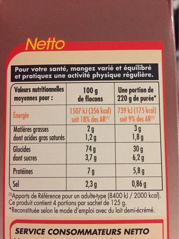 Purée a la creme et noix de muscade - Nutrition facts - fr
