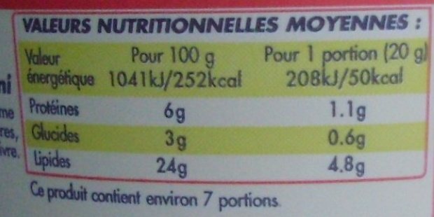 Ail & Fines Herbes (24 % MG) Fromage à tartiner - Informations nutritionnelles