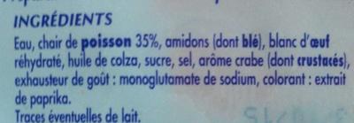 12 Bâtonnets de surimi - Ingrediënten
