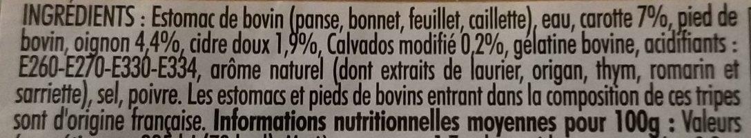Tripes au cidre - Ingredients - fr
