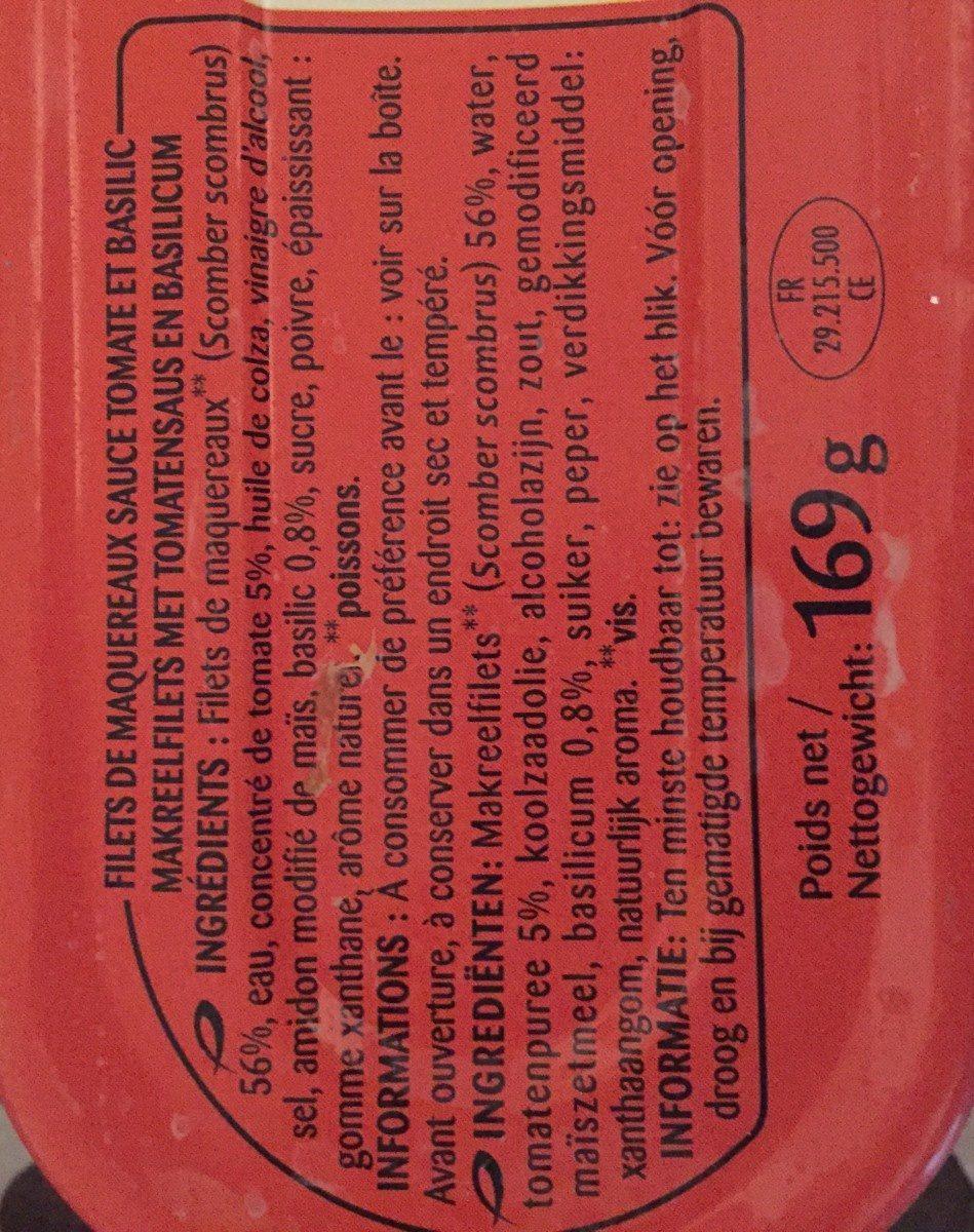 Filets de Maquereaux Tomate - Ingrédients