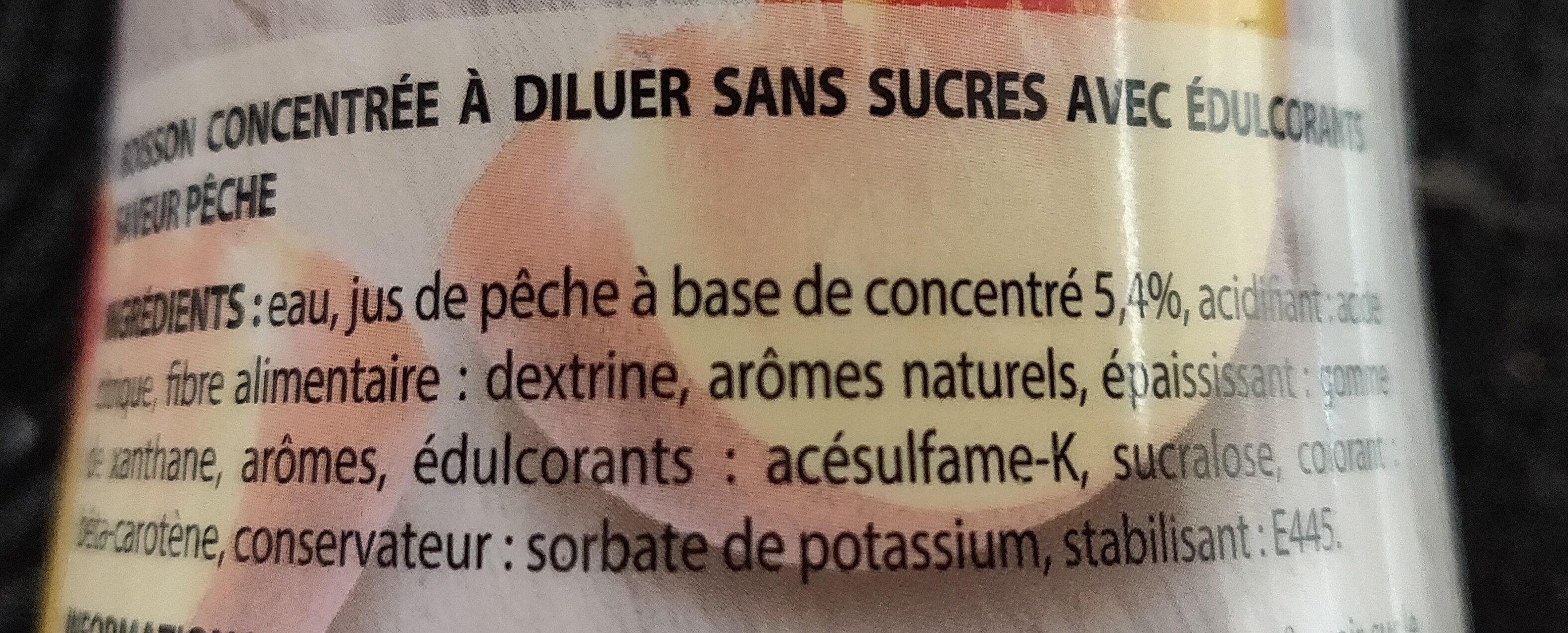 Boisson zéro sucres saveur pêche - Ingrediënten - fr