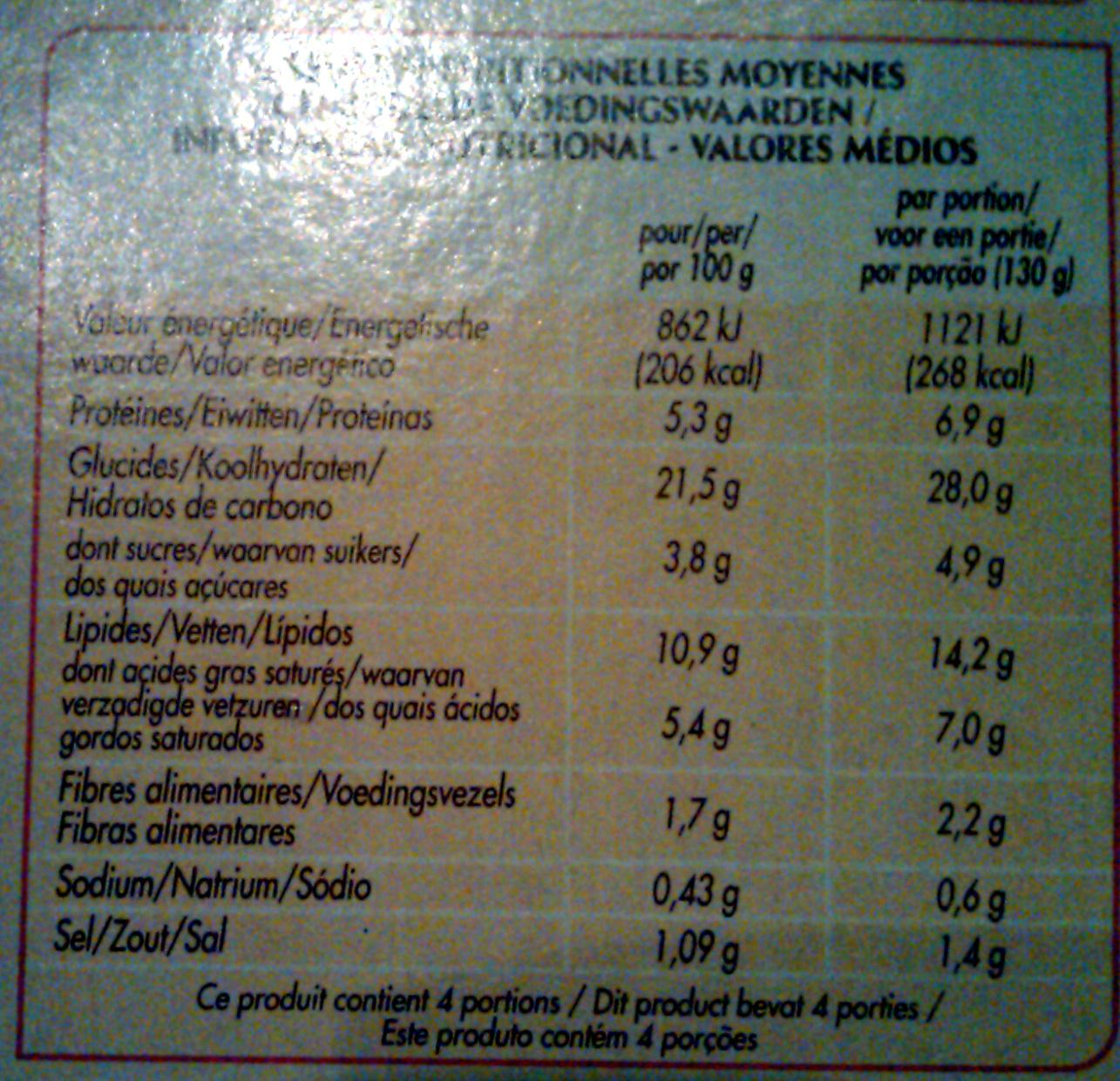 2 Flammekueche  lardon et oignons - Informations nutritionnelles - fr