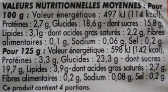 Crème Dessert Saveur Pistache - Informations nutritionnelles - fr