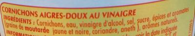 Cornichons Aigres-doux - Ingredients
