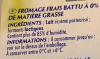 Fromage Blanc 0% - Ingredients - fr
