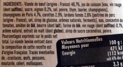 Bœuf Bourguignon -25% de Sel - Ingrédients