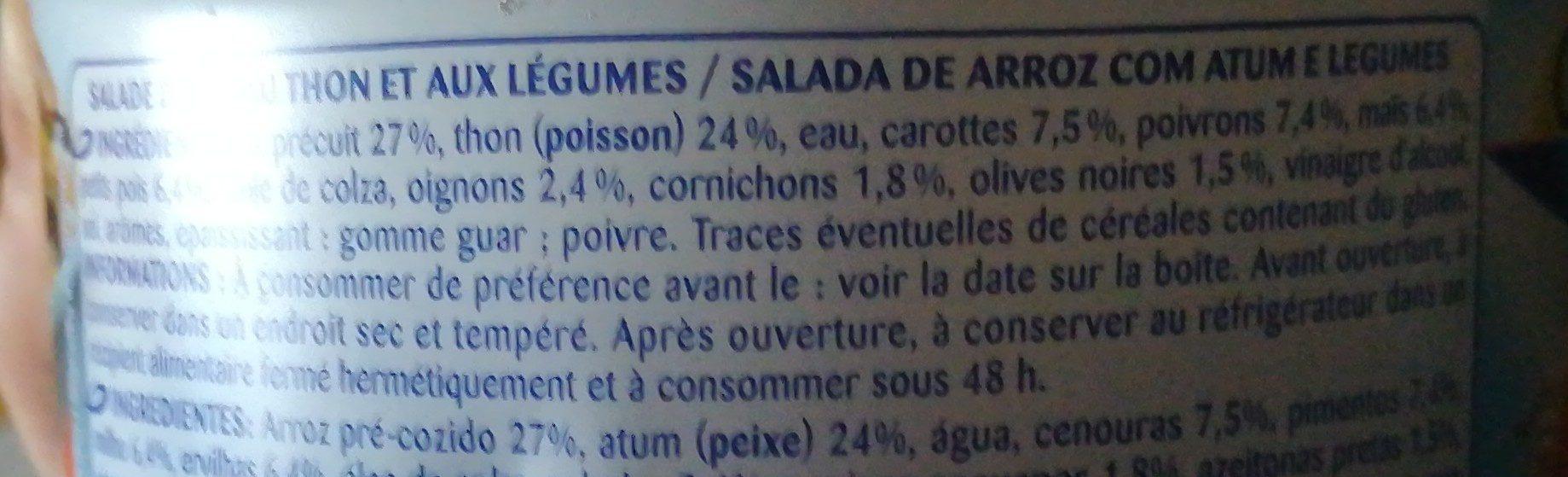 Salade au Thon/Riz Méditerranéenne - Ingrédients