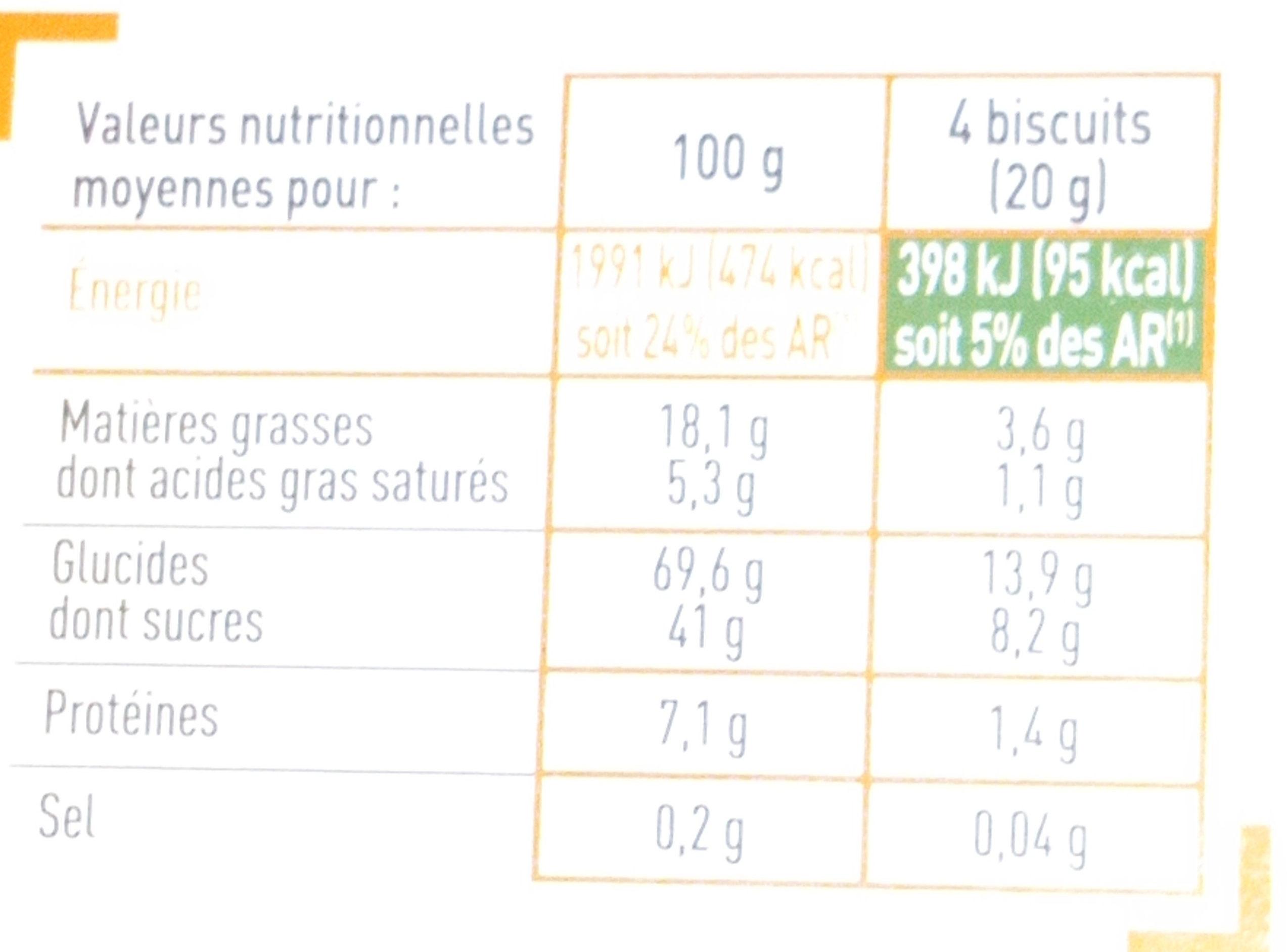 Tuiles aux amandes - Nutrition facts