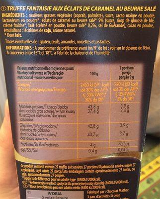 Ivoria Ball Truf Caramel - Nutrition facts