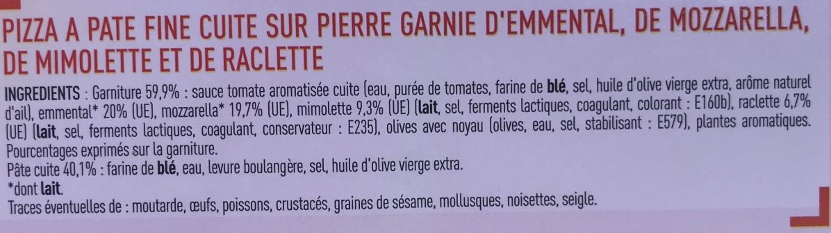 Pizza Fromage - Ingredients