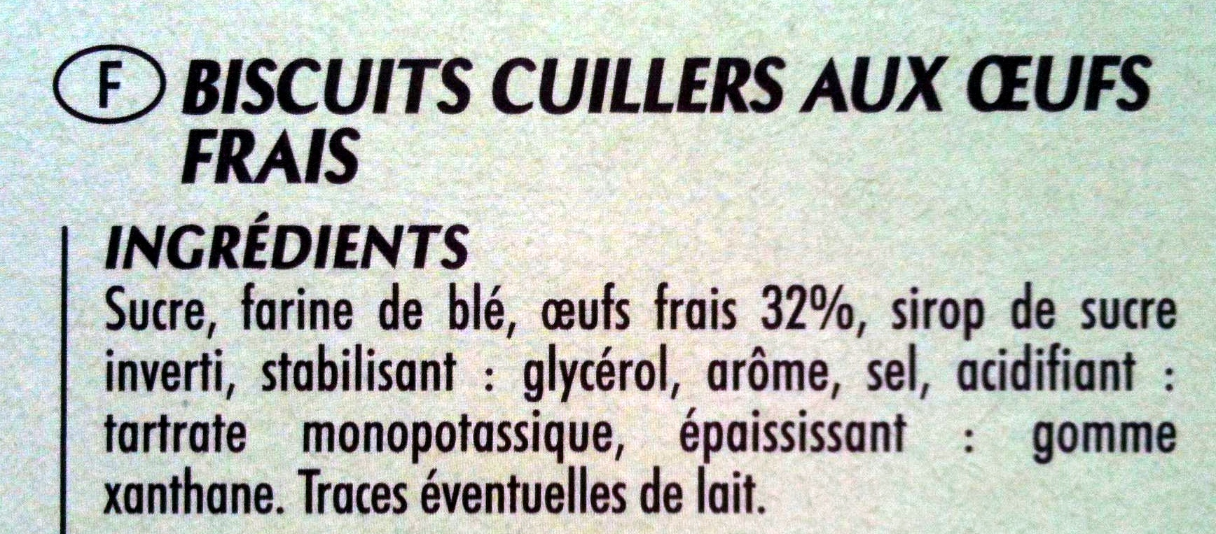 Biscuits cuillers aux oeufs frais - Ingredients - fr