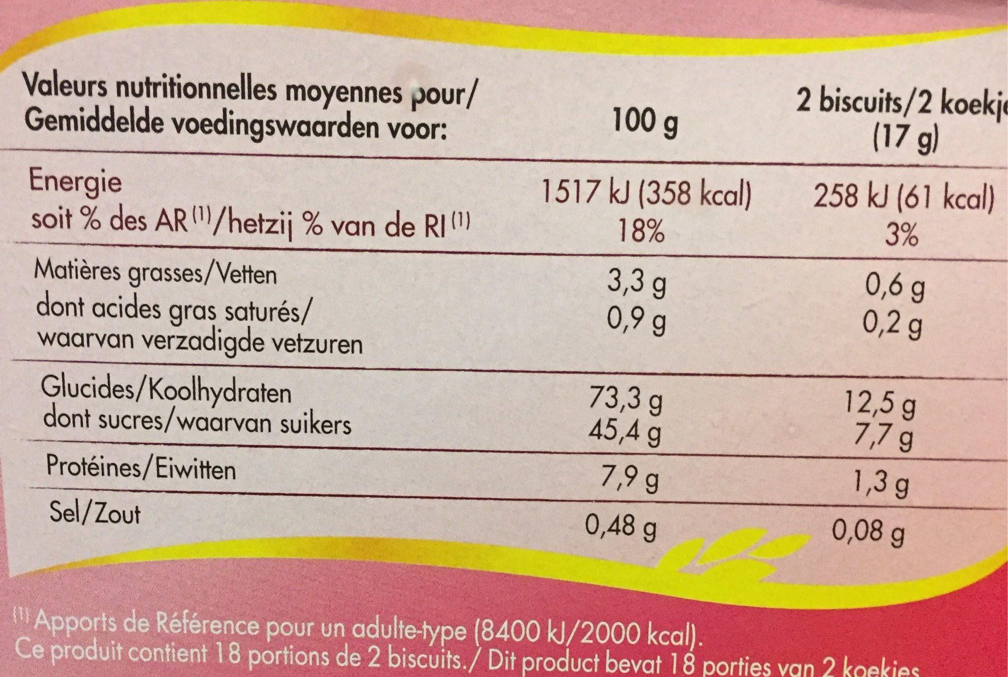 Biscuits cuillers aux oeufs frais - Nutrition facts - fr