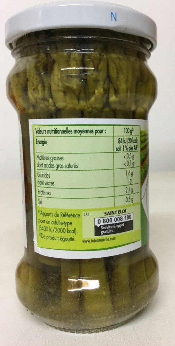 Asperges vertes pic-nic - Nutrition facts - fr
