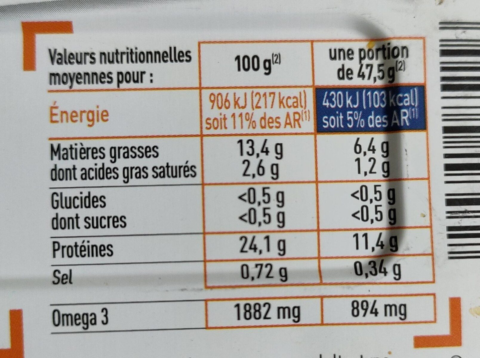 Netto Sardine Huile d Olive - Informations nutritionnelles - fr