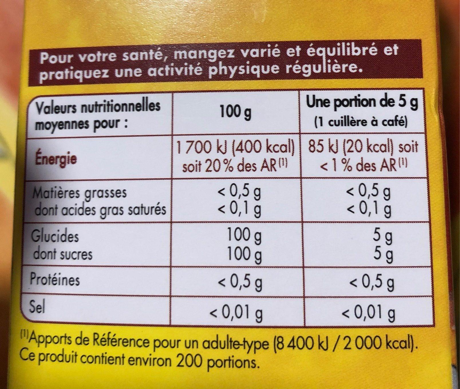 Cassonade - Nutrition facts