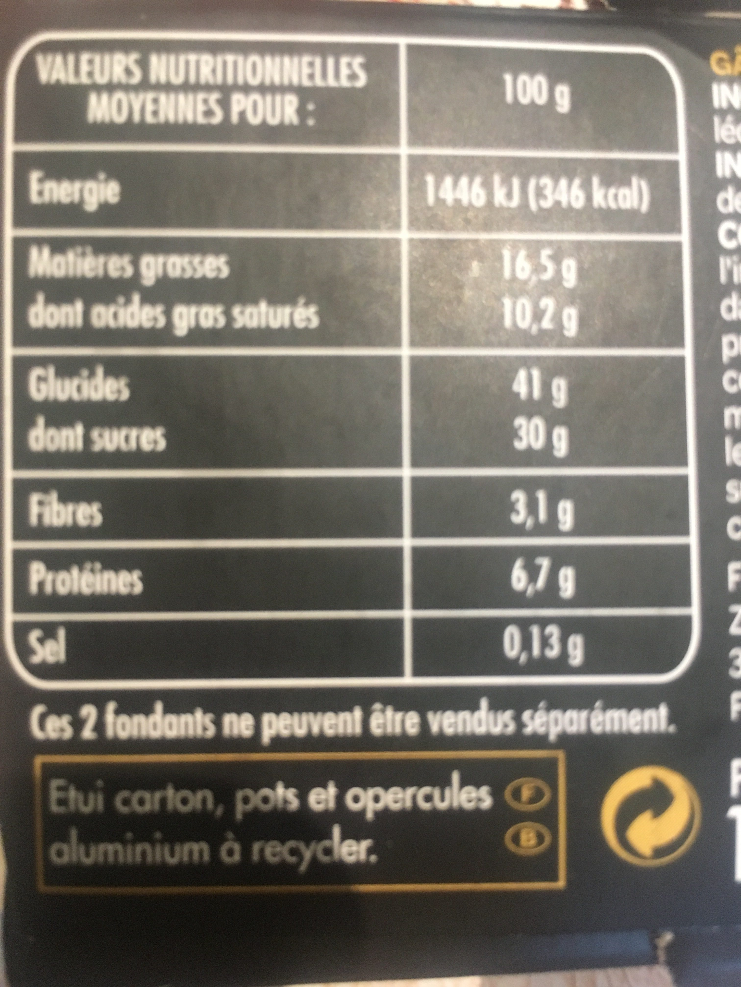 Coeur Fondant Chocolat - Ingredients - fr