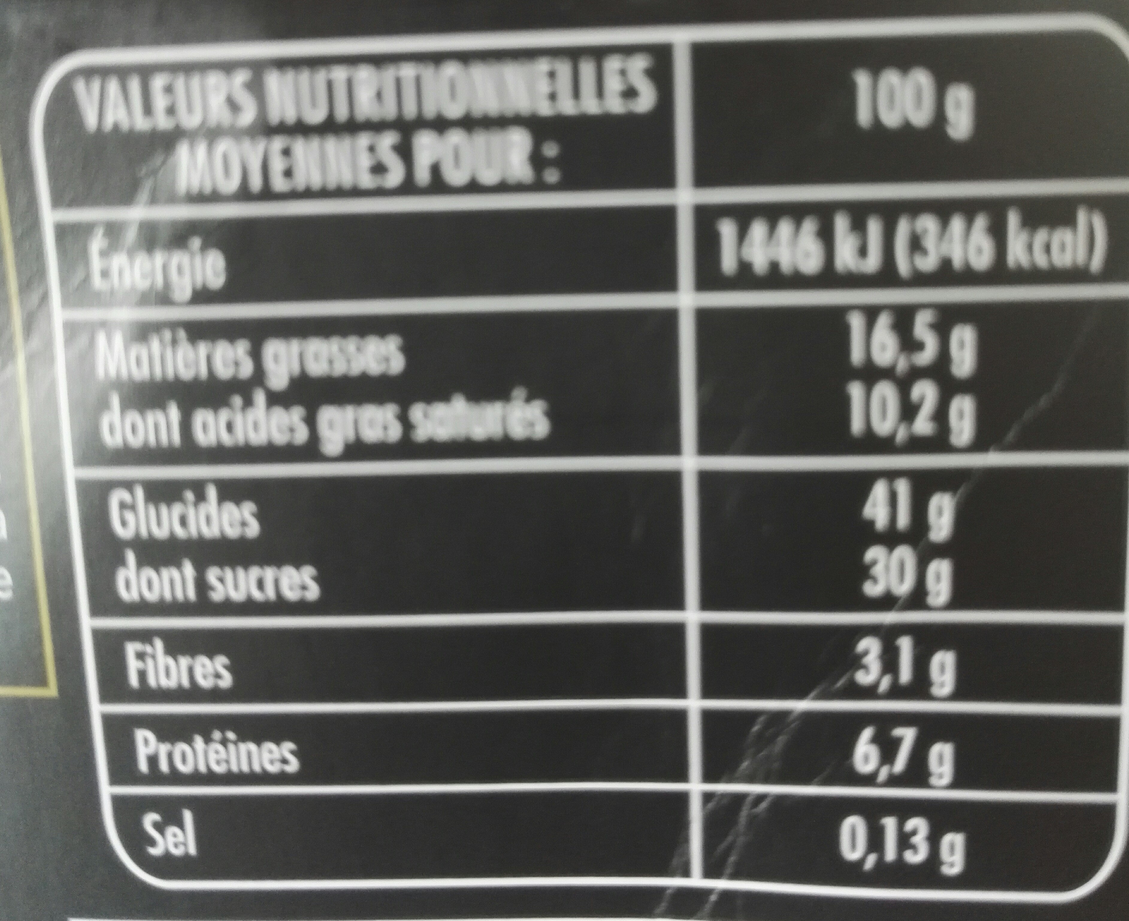 Coeur Fondant Chocolat - Nutrition facts - fr