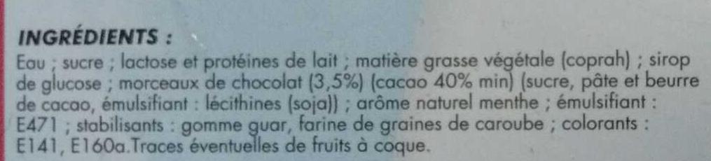 Glace Menthe avec Morceaux de Chocolat - Ingrédients - fr